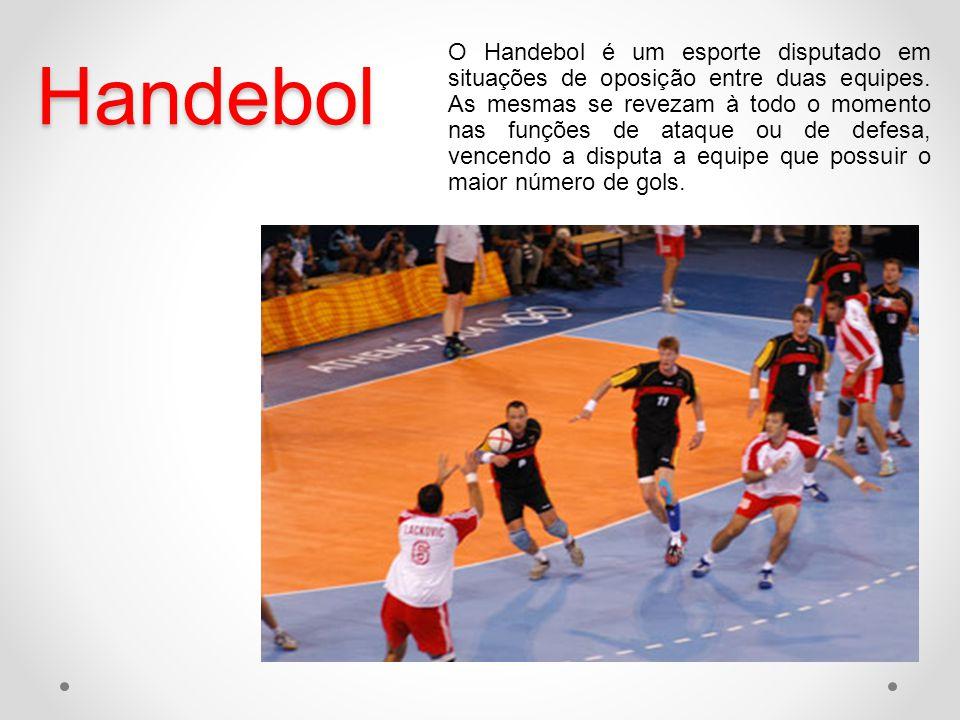 Handebol O Handebol é um esporte disputado em situações de oposição entre duas equipes. As mesmas se revezam à todo o momento nas funções de ataque ou