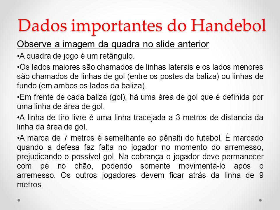 Dados importantes do Handebol Observe a imagem da quadra no slide anterior •A quadra de jogo é um retângulo. •Os lados maiores são chamados de linhas