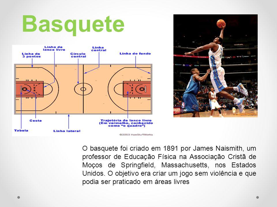 Basquete O basquete foi criado em 1891 por James Naismith, um professor de Educação Física na Associação Cristã de Moços de Springfield, Massachusetts