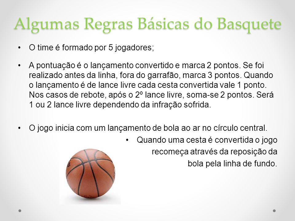 Algumas Regras Básicas do Basquete •O time é formado por 5 jogadores; •A pontuação é o lançamento convertido e marca 2 pontos. Se foi realizado antes