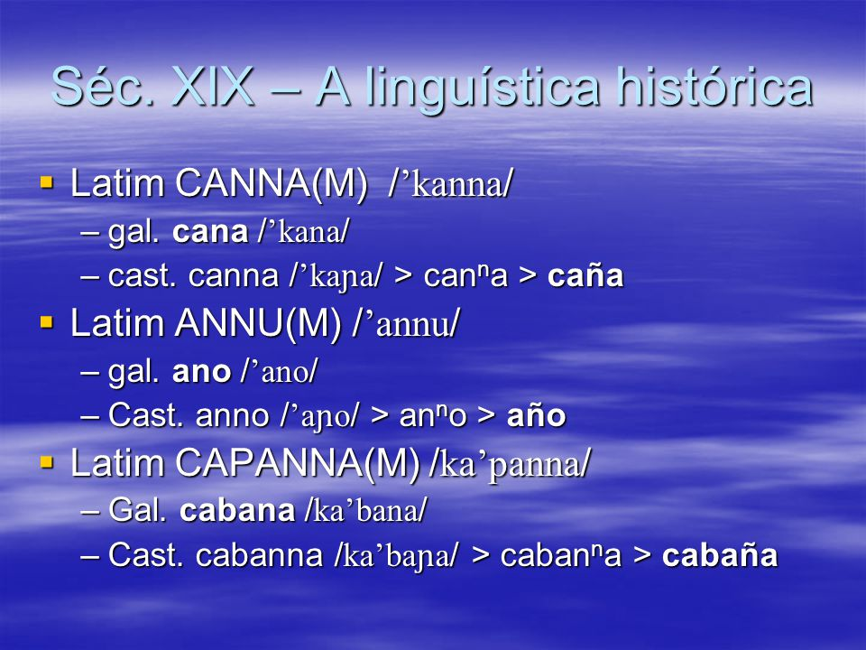 Séc. XIX – A linguística histórica  Latim CANNA(M) / 'kanna / –gal. cana / 'kana / –cast. canna / 'ka ɲ a / > can n a > caña  Latim ANNU(M) / 'annu