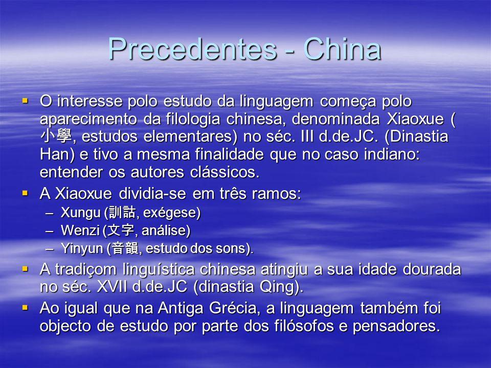 Precedentes - China  O interesse polo estudo da linguagem começa polo aparecimento da filologia chinesa, denominada Xiaoxue ( 小學, estudos elementares