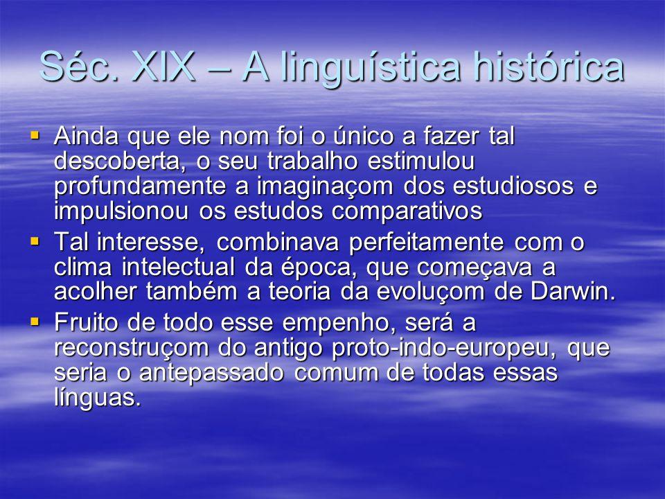 Séc. XIX – A linguística histórica  Ainda que ele nom foi o único a fazer tal descoberta, o seu trabalho estimulou profundamente a imaginaçom dos est