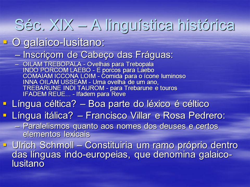 Séc.XIX – A linguística histórica  No último quartel do séc.