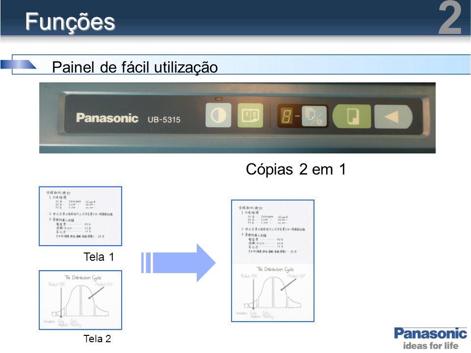 Funções Painel de fácil utilização Cópias 2 em 1 Tela 1 Tela 2 2