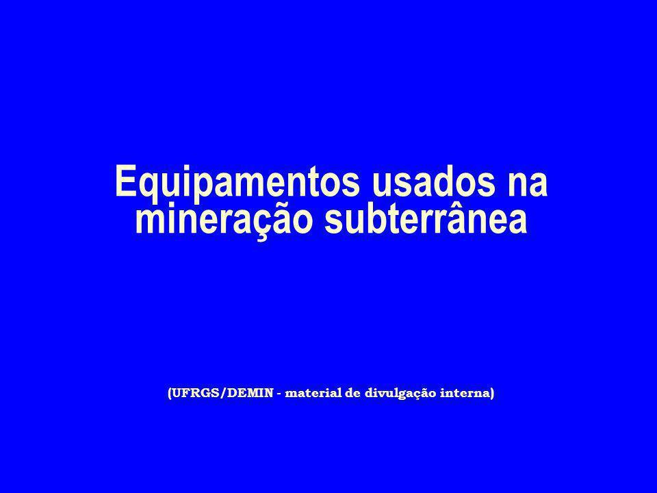 Equipamentos usados na mineração subterrânea (UFRGS/DEMIN - material de divulgação interna)