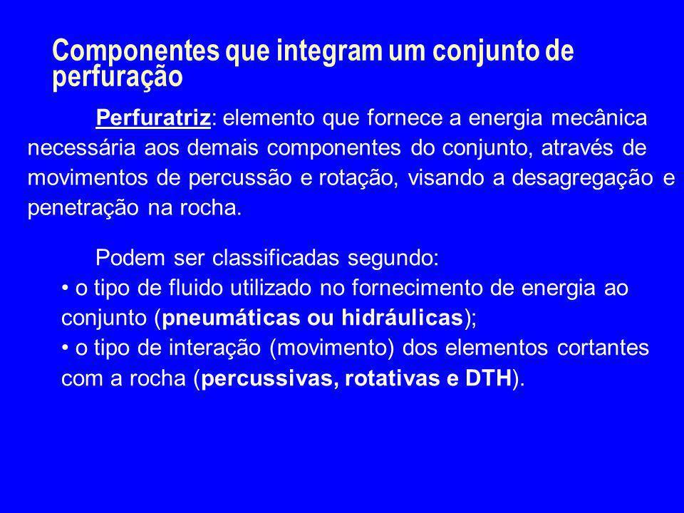 Componentes que integram um conjunto de perfuração Perfuratriz: elemento que fornece a energia mecânica necessária aos demais componentes do conjunto,