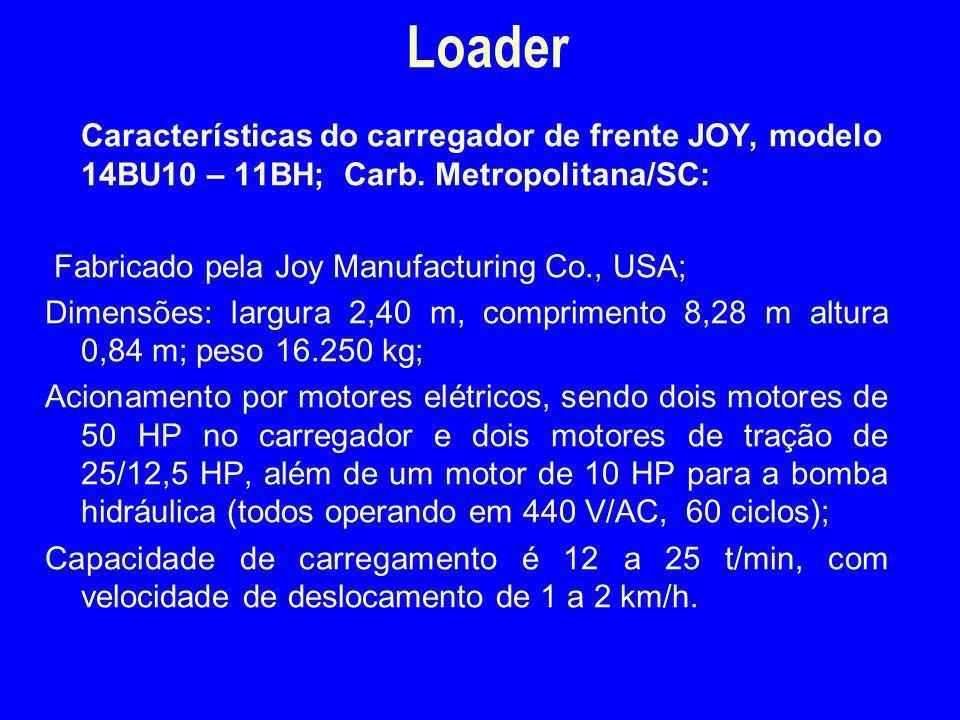 Características do carregador de frente JOY, modelo 14BU10 – 11BH; Carb. Metropolitana/SC: Fabricado pela Joy Manufacturing Co., USA; Dimensões: largu