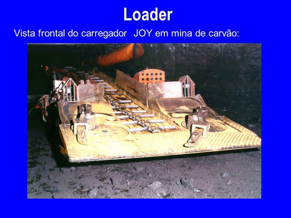 Vista frontal do carregador JOY em mina de carvão: Loader