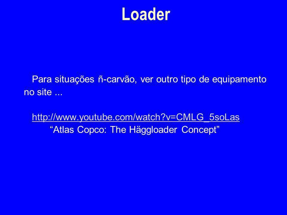 """Para situações ñ-carvão, ver outro tipo de equipamento no site... http://www.youtube.com/watch?v=CMLG_5soLas """"Atlas Copco: The Häggloader Concept"""" Loa"""