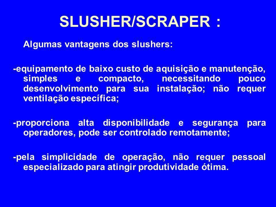 Algumas vantagens dos slushers: -equipamento de baixo custo de aquisição e manutenção, simples e compacto, necessitando pouco desenvolvimento para sua