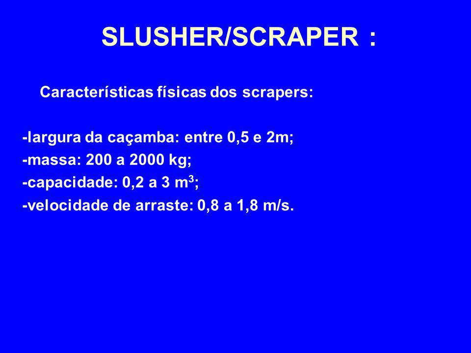 Características físicas dos scrapers: -largura da caçamba: entre 0,5 e 2m; -massa: 200 a 2000 kg; -capacidade: 0,2 a 3 m 3 ; -velocidade de arraste: 0