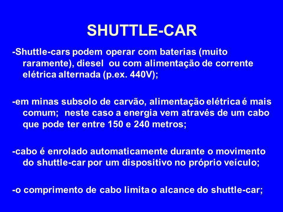 -Shuttle-cars podem operar com baterias (muito raramente), diesel ou com alimentação de corrente elétrica alternada (p.ex. 440V); -em minas subsolo de