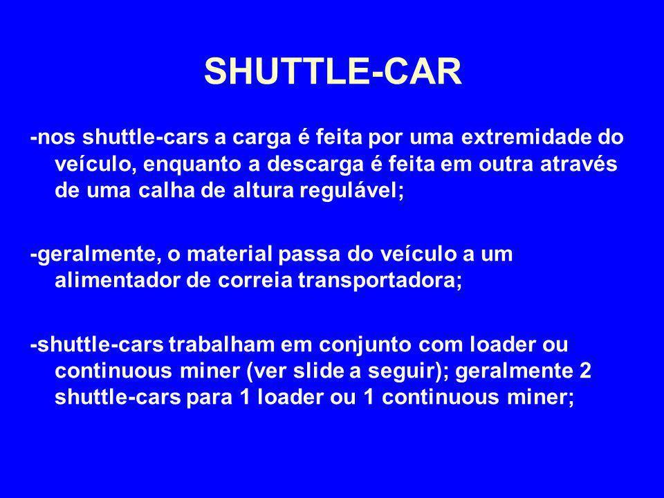 -nos shuttle-cars a carga é feita por uma extremidade do veículo, enquanto a descarga é feita em outra através de uma calha de altura regulável; -gera