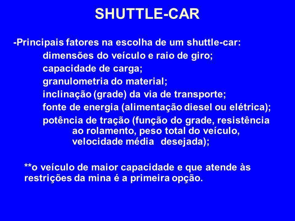 -Principais fatores na escolha de um shuttle-car: dimensões do veículo e raio de giro; capacidade de carga; granulometria do material; inclinação (gra
