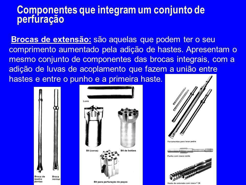 Componentes que integram um conjunto de perfuração Brocas de extensão: são aquelas que podem ter o seu comprimento aumentado pela adição de hastes. Ap