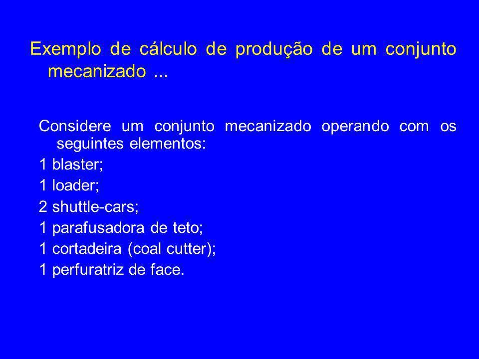 Exemplo de cálculo de produção de um conjunto mecanizado... Considere um conjunto mecanizado operando com os seguintes elementos: 1 blaster; 1 loader;