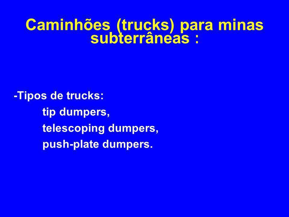 -Tipos de trucks: tip dumpers, telescoping dumpers, push-plate dumpers. Caminhões (trucks) para minas subterrâneas :