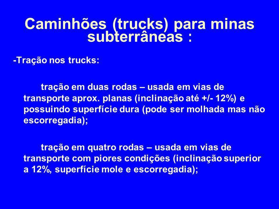 -Tração nos trucks: tração em duas rodas – usada em vias de transporte aprox. planas (inclinação até +/- 12%) e possuindo superfície dura (pode ser mo