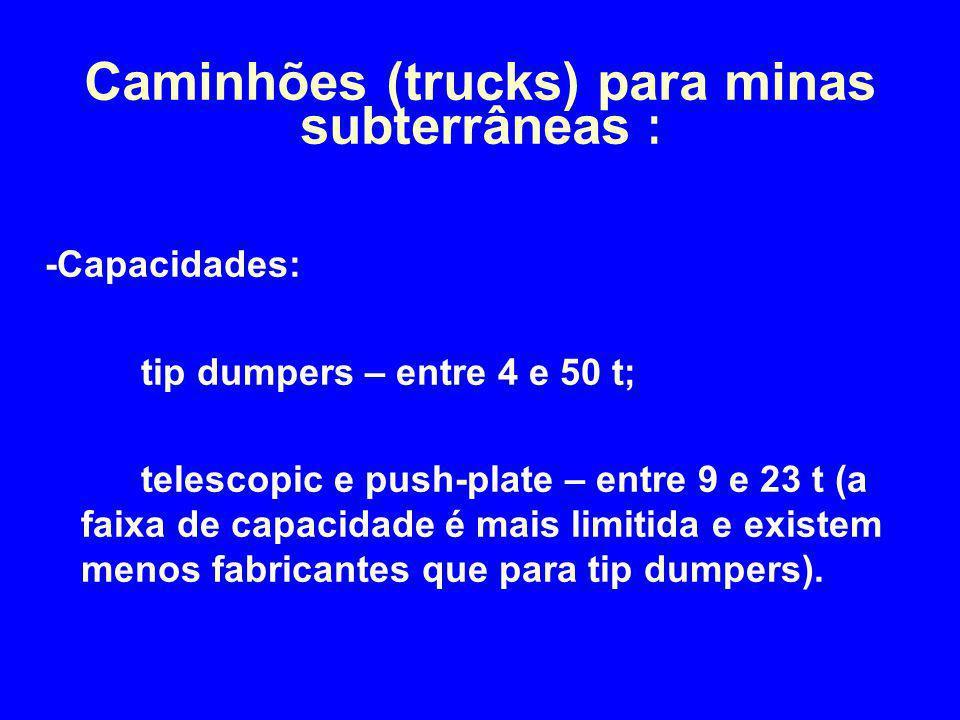 -Capacidades: tip dumpers – entre 4 e 50 t; telescopic e push-plate – entre 9 e 23 t (a faixa de capacidade é mais limitida e existem menos fabricante