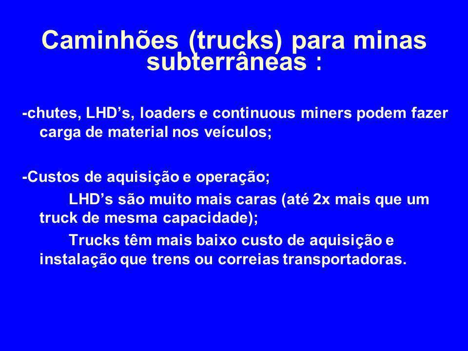 -chutes, LHD's, loaders e continuous miners podem fazer carga de material nos veículos; -Custos de aquisição e operação; LHD's são muito mais caras (a