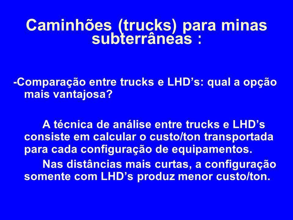 -Comparação entre trucks e LHD's: qual a opção mais vantajosa? A técnica de análise entre trucks e LHD's consiste em calcular o custo/ton transportada