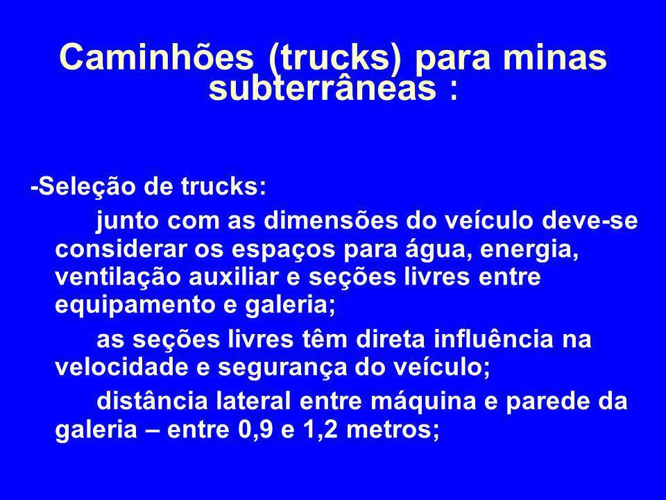 -Seleção de trucks: junto com as dimensões do veículo deve-se considerar os espaços para água, energia, ventilação auxiliar e seções livres entre equi