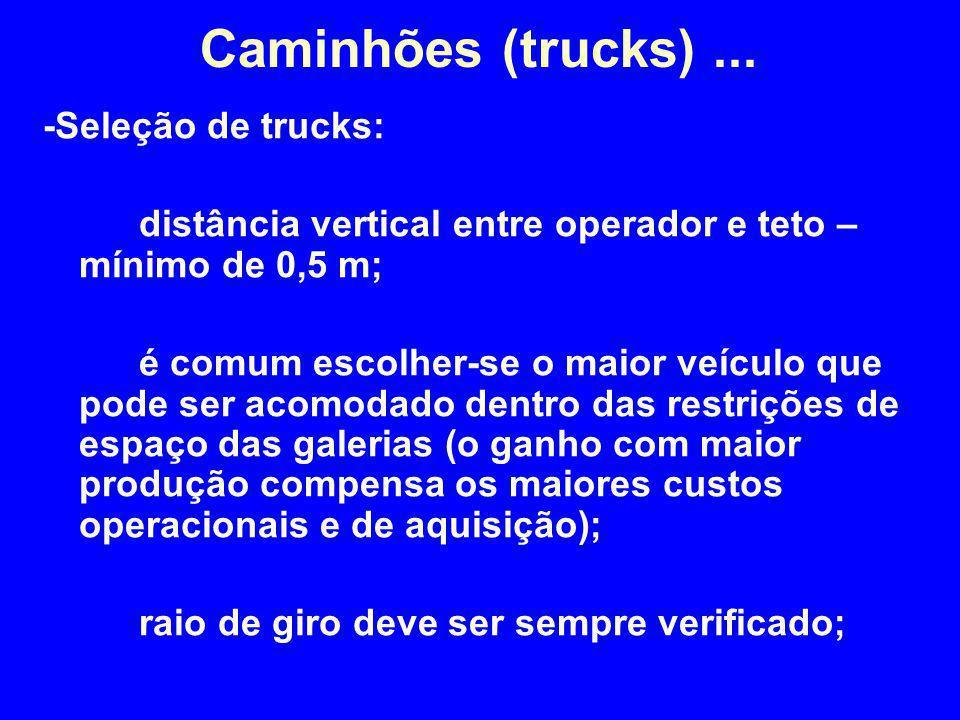 -Seleção de trucks: distância vertical entre operador e teto – mínimo de 0,5 m; é comum escolher-se o maior veículo que pode ser acomodado dentro das