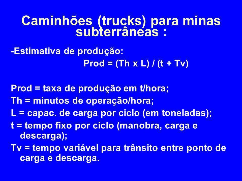 -Estimativa de produção: Prod = (Th x L) / (t + Tv) Prod = taxa de produção em t/hora; Th = minutos de operação/hora; L = capac. de carga por ciclo (e