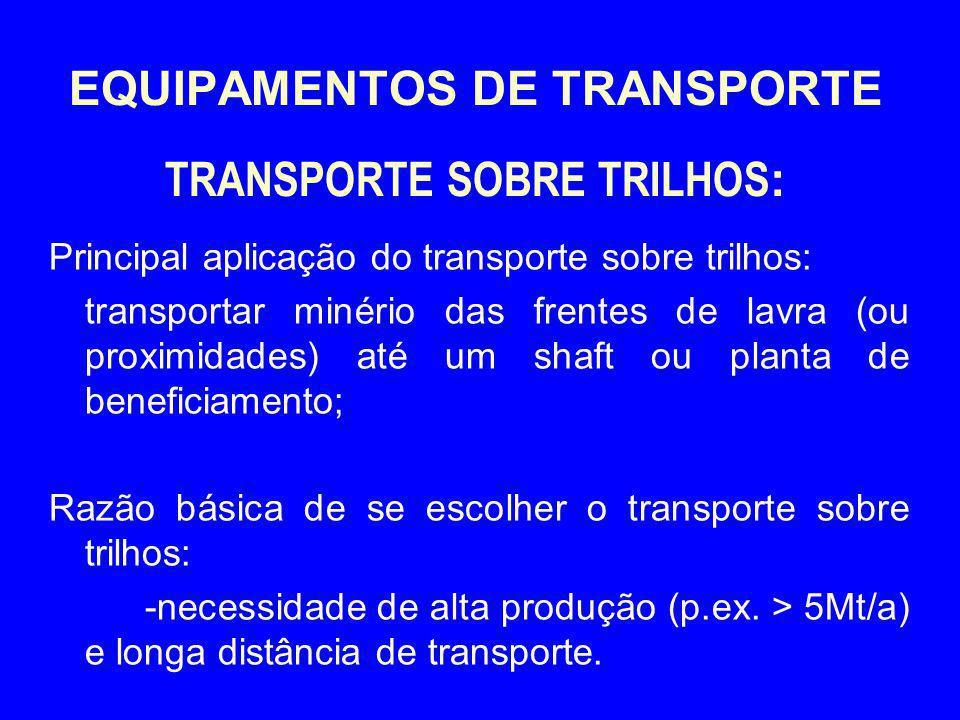 EQUIPAMENTOS DE TRANSPORTE TRANSPORTE SOBRE TRILHOS : Principal aplicação do transporte sobre trilhos: transportar minério das frentes de lavra (ou pr