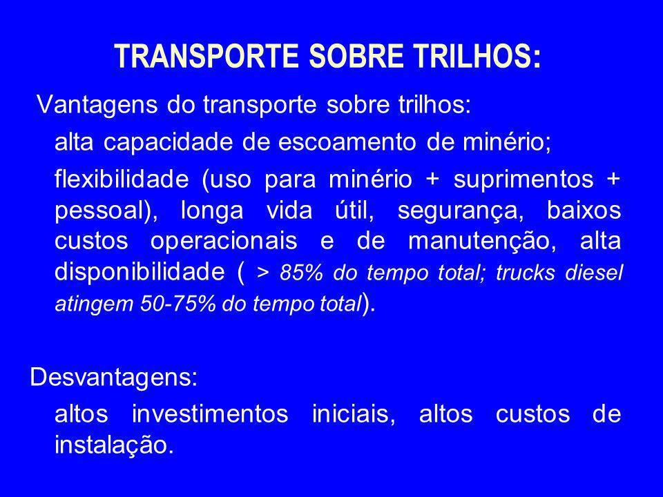 TRANSPORTE SOBRE TRILHOS : Vantagens do transporte sobre trilhos: alta capacidade de escoamento de minério; flexibilidade (uso para minério + suprimen