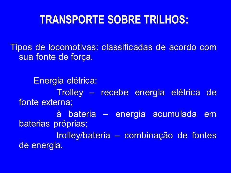 TRANSPORTE SOBRE TRILHOS : Tipos de locomotivas: classificadas de acordo com sua fonte de força. Energia elétrica: Trolley – recebe energia elétrica d