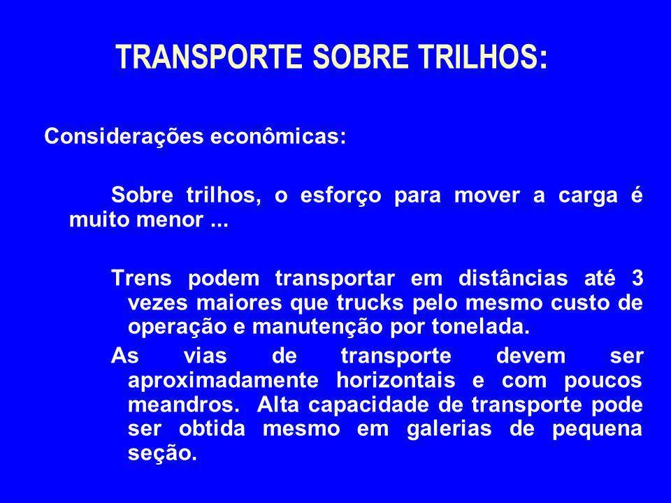 TRANSPORTE SOBRE TRILHOS : Considerações econômicas: Sobre trilhos, o esforço para mover a carga é muito menor... Trens podem transportar em distância