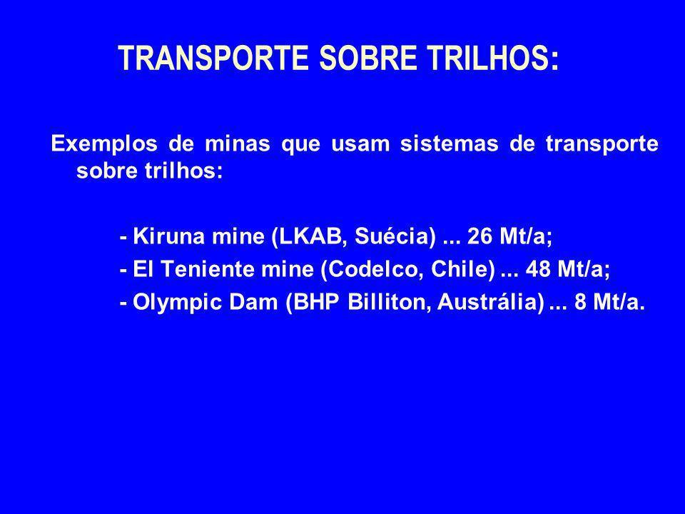 TRANSPORTE SOBRE TRILHOS : Exemplos de minas que usam sistemas de transporte sobre trilhos: - Kiruna mine (LKAB, Suécia)... 26 Mt/a; - El Teniente min