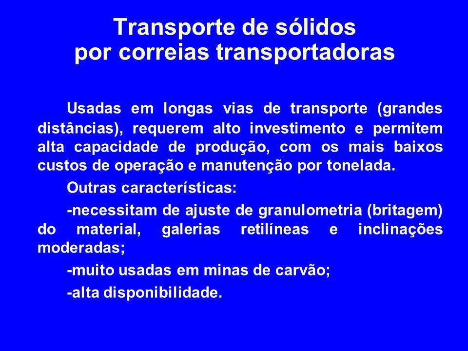 Transporte de sólidos por correias transportadoras Usadas em longas vias de transporte (grandes distâncias), requerem alto investimento e permitem alt