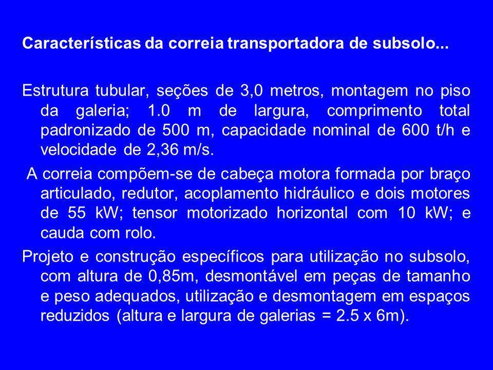 Características da correia transportadora de subsolo... Estrutura tubular, seções de 3,0 metros, montagem no piso da galeria; 1.0 m de largura, compri