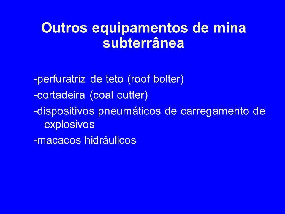 Outros equipamentos de mina subterrânea -perfuratriz de teto (roof bolter) -cortadeira (coal cutter) -dispositivos pneumáticos de carregamento de expl
