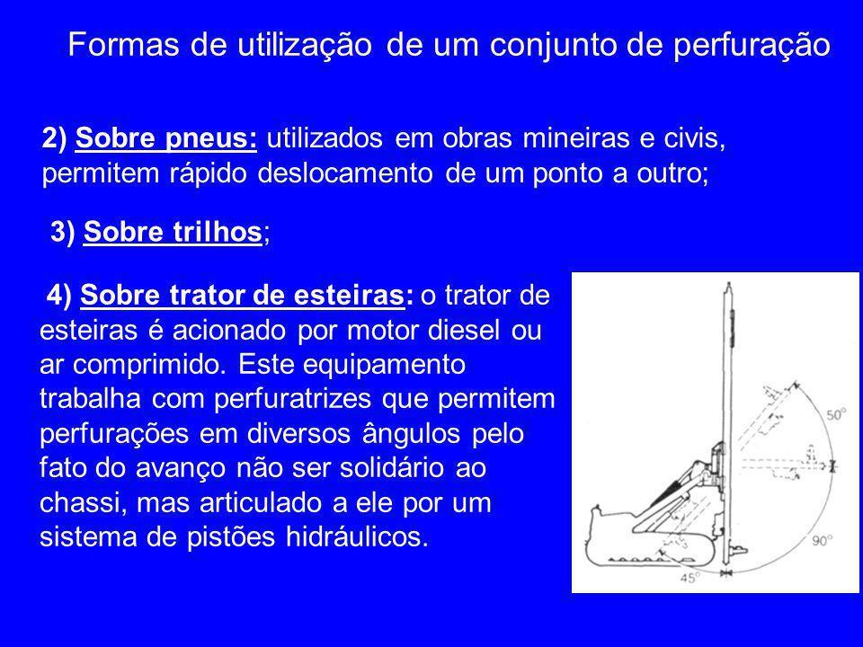 4) Sobre trator de esteiras: o trator de esteiras é acionado por motor diesel ou ar comprimido. Este equipamento trabalha com perfuratrizes que permit