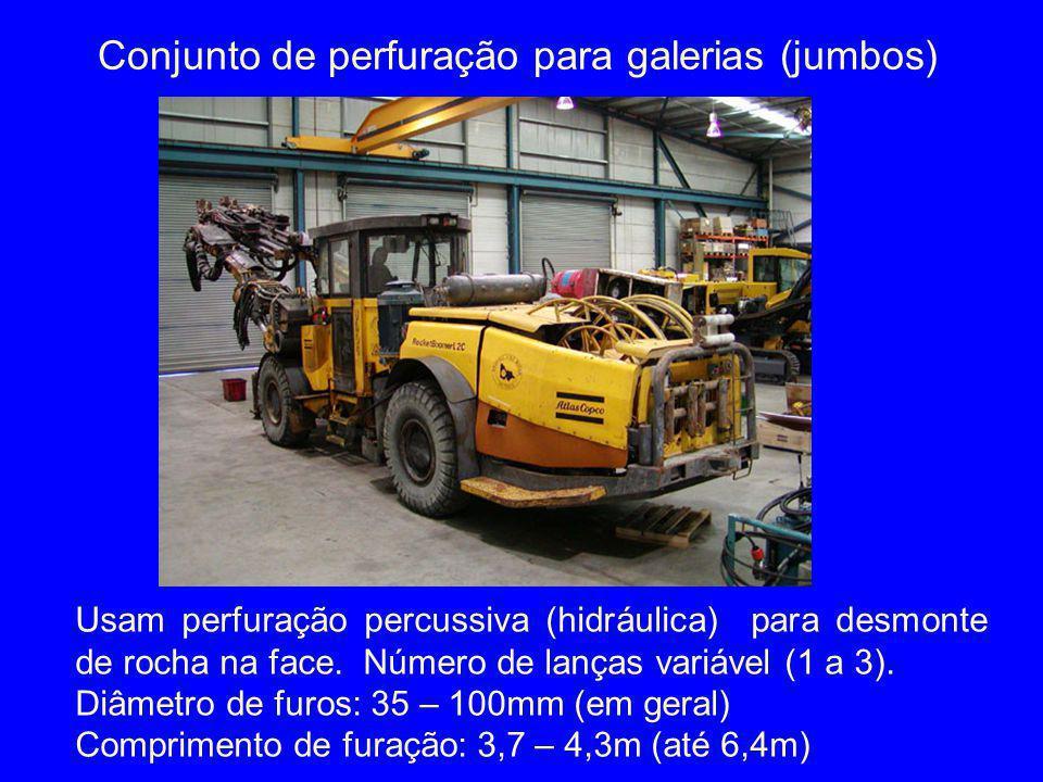 Conjunto de perfuração para galerias (jumbos) Usam perfuração percussiva (hidráulica) para desmonte de rocha na face. Número de lanças variável (1 a 3