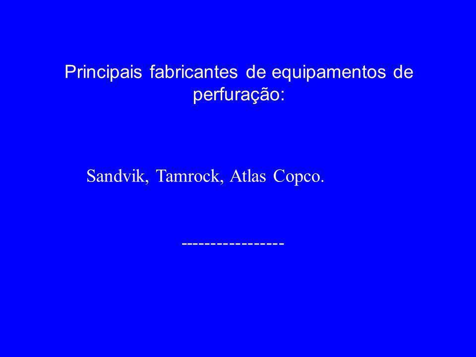 Principais fabricantes de equipamentos de perfuração: Sandvik, Tamrock, Atlas Copco. -----------------