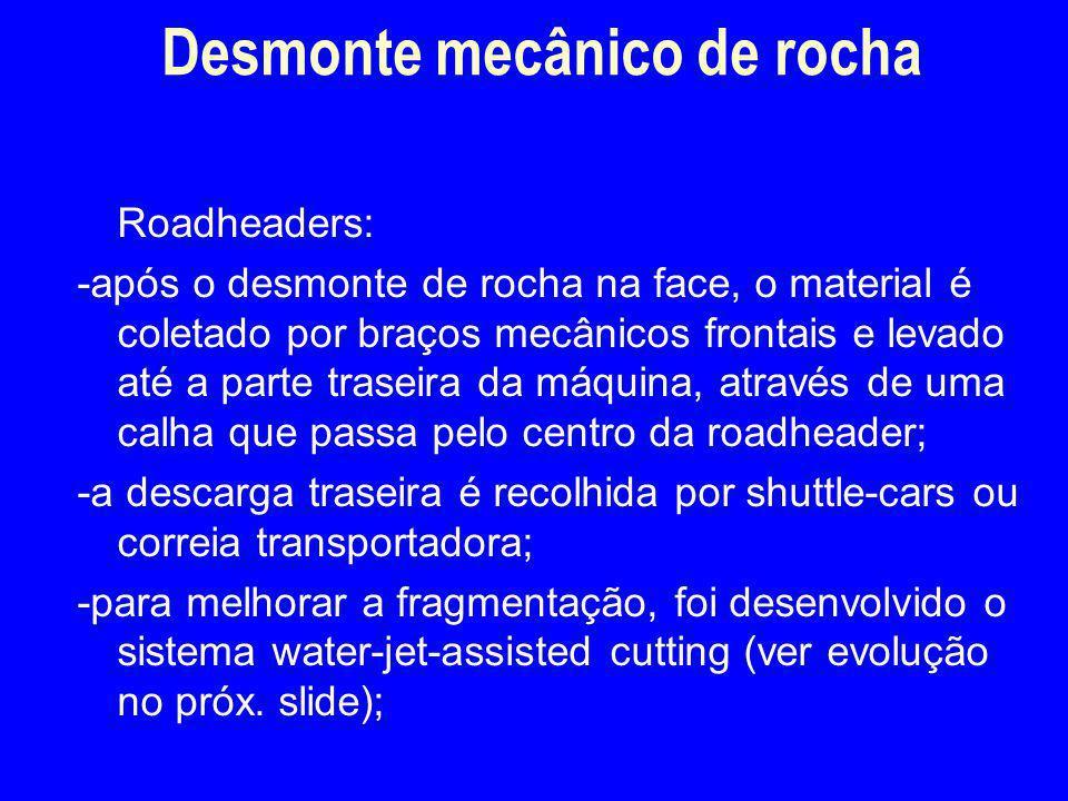 Roadheaders: -após o desmonte de rocha na face, o material é coletado por braços mecânicos frontais e levado até a parte traseira da máquina, através