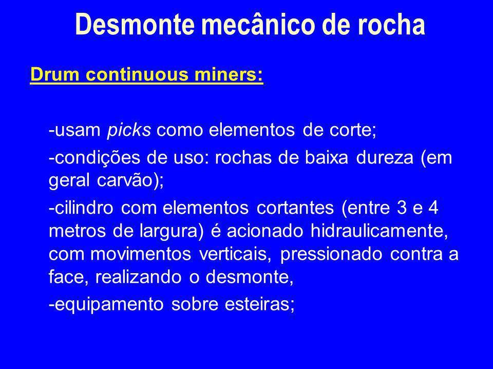 Drum continuous miners: -usam picks como elementos de corte; -condições de uso: rochas de baixa dureza (em geral carvão); -cilindro com elementos cort