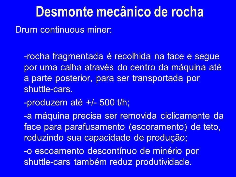 Drum continuous miner: -rocha fragmentada é recolhida na face e segue por uma calha através do centro da máquina até a parte posterior, para ser trans