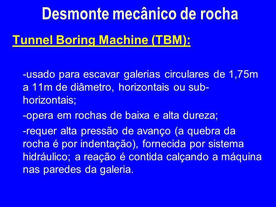 Tunnel Boring Machine (TBM): -usado para escavar galerias circulares de 1,75m a 11m de diâmetro, horizontais ou sub- horizontais; -opera em rochas de