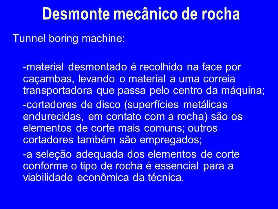 Tunnel boring machine: -material desmontado é recolhido na face por caçambas, levando o material a uma correia transportadora que passa pelo centro da
