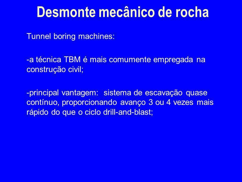 Tunnel boring machines: -a técnica TBM é mais comumente empregada na construção civil; -principal vantagem: sistema de escavação quase contínuo, propo