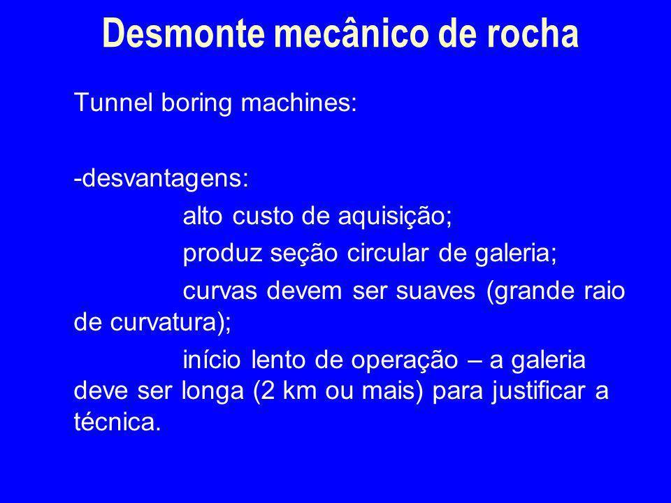Tunnel boring machines: -desvantagens: alto custo de aquisição; produz seção circular de galeria; curvas devem ser suaves (grande raio de curvatura);