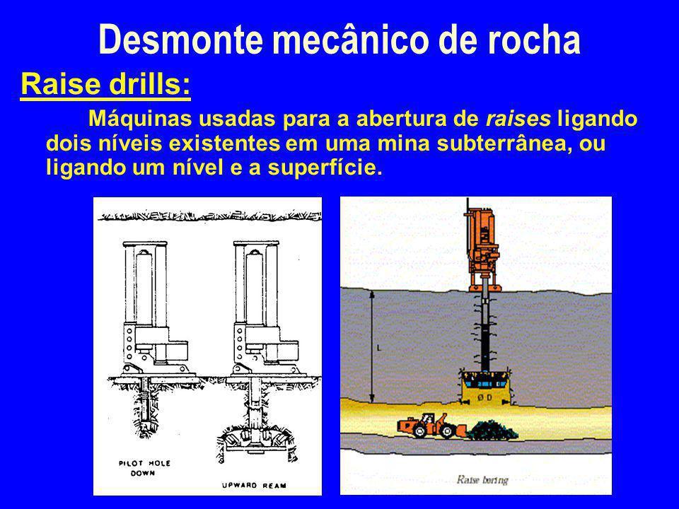 Desmonte mecânico de rocha Raise drills: Máquinas usadas para a abertura de raises ligando dois níveis existentes em uma mina subterrânea, ou ligando