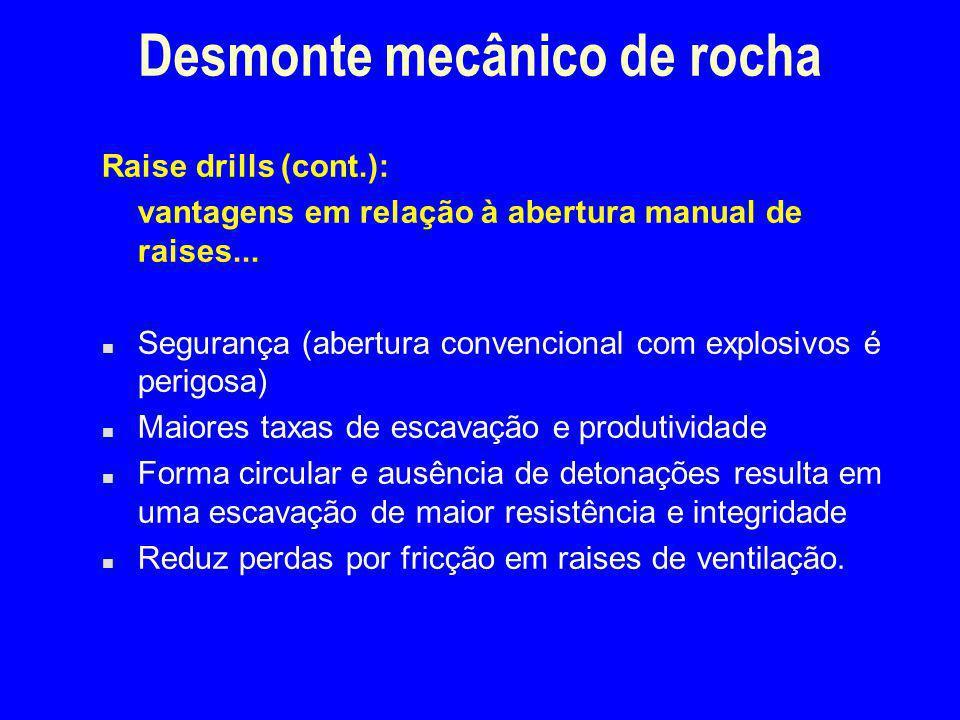 Desmonte mecânico de rocha Raise drills (cont.): vantagens em relação à abertura manual de raises... n Segurança (abertura convencional com explosivos
