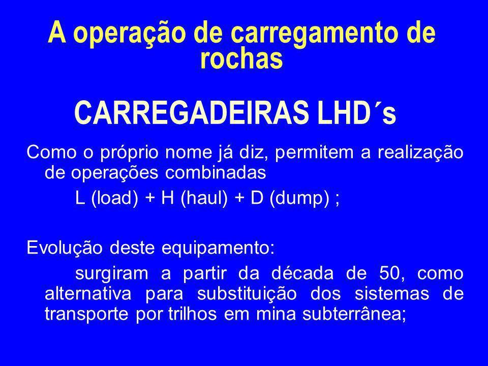 CARREGADEIRAS LHD´s Como o próprio nome já diz, permitem a realização de operações combinadas L (load) + H (haul) + D (dump) ; Evolução deste equipame